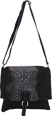 Your Dezire Ladies Suede Leather Snake Skin Cross Body Messenger Bag Women Shoulder Over Bags Handbags (Black)