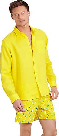 Vilebrequin Men Linen Shirt Solid - Buttercup Yellow - L