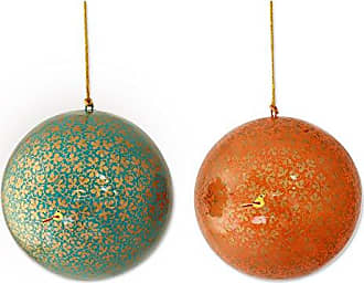 Novica Golden Holiday Hand-Made Papier Mache Ornaments, Large (1-Pair)