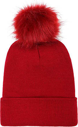 JERFER New Store Offer Women Keep Warm Winter Faux Fur Ball Knitted Ski Beanie Hemming Hat Cap Wine