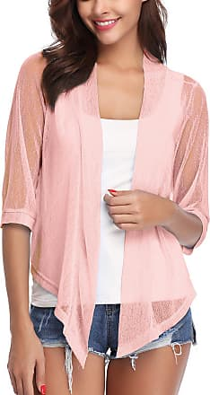 iClosam Womens Casual Tie Knot Cardigan 3/4 Sleeve Sheer Shrug Open Front Lightweight Short Cropped Bolero Cardigan (Pink, X-Large)