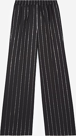 The Kooples Flowing black trousers with silver stripes - WOMEN