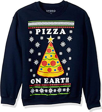 Hybrid Mens Pizza On Earth Holiday Pullover, Blue, L