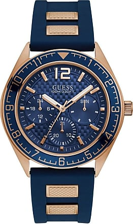 Acotis Limited Guess Watches Guess Gents Rose Gold Blue Trim Dial Strap Watch W1167G3
