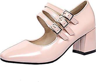Aiyoumei Damen Lack Mary Jane Pumps mit 6cm Absatz Blockabsatz Elegant  Schuhe 8d90c00eec