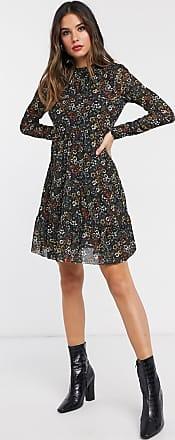 Warehouse floral print mesh dress-Black