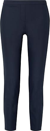 Theory Thaniel Cropped Stretch Cotton-blend Twill Slim-leg Pants - Navy