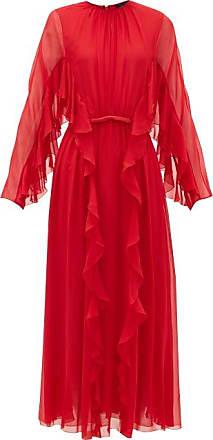 Giambattista Valli Ruffled Silk-chiffon Midi Dress - Womens - Red