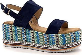 1d7005f92ff598 Angkorly Damen Schuhe Sandalen Espadrilles - Vintage Retro - große  Plateauschuhe - Bequeme - String