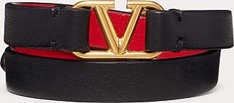 Valentino Garavani Valentino Garavani Vlogo Signature Double-strap Bracelet In Calfskin Women Black/pure Red 100% Pelle Di Vitello - Bos Taurus OneSize