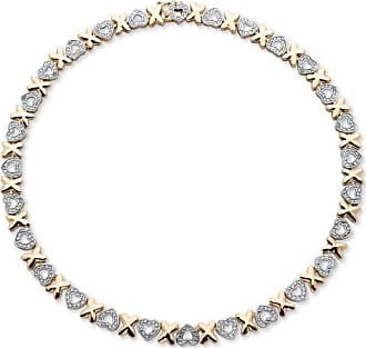 PalmBeach Jewelry Diamond Accent Hearts and Kisses Necklace in 18k Gold-Plated 17