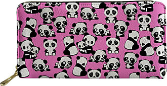 Coloranimal Pink Animal Panda Puzzle Women PU Leather Long Wallet Pouch