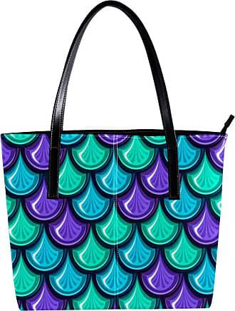 Nananma Womens Bag Shoulder Tote handbag with Colorful Shiny River Fish Scales Print Zipper Purse PU Leather Top-handle Zip Bags