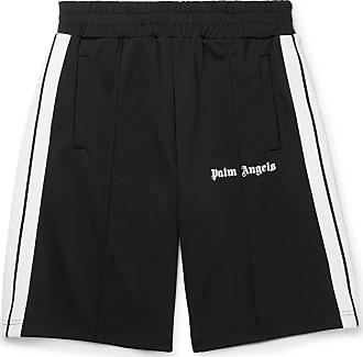 Palm Angels Wide-leg Webbing-trimmed Logo-print Jersey Shorts - Black