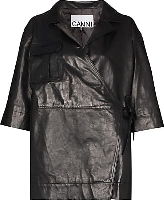 Ganni wrap leather jacket - Black
