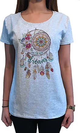 Irony Womens T-Shirt,Follow Your Dreams, Native Dreamcatcher Print TS1601 Grey