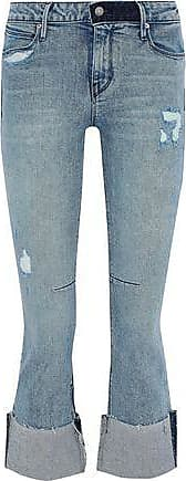 Rta Rta Woman Duchess Distressed Mid-rise Kick-flare Jeans Light Denim Size 28