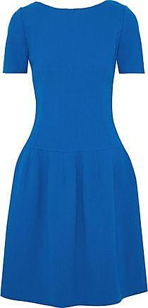Oscar De La Renta Oscar De La Renta Woman Pleated Wool-blend Crepe Dress Blue Size 2