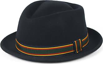 Hat To Socks Stylish Navy Wool Pork Pie Hat Waterproof & Crushable, Handmade in Italy (Navy, 54 cm)