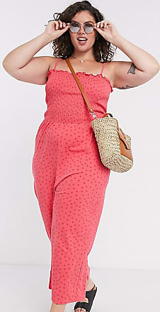 Glamorous Curve wide leg jumpsuit with shirred bodice in ditsy strawberry-Pink