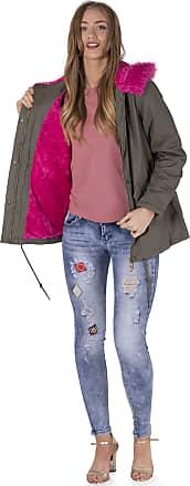 Noroze Womens Faux Pink Fur Parka Coat Hood Jacket (Khaki, 14)