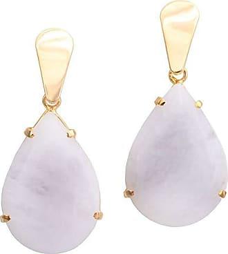 Tinna Jewelry Brinco Dourado Quatzo Branco