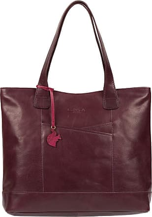 Pure Luxuries London Concka London Patience Womens 36cm Biodegradable Leather Tote Bag with Zip Over Top, 100% Cotton Lining and Matching Leather Handles in Plum B181