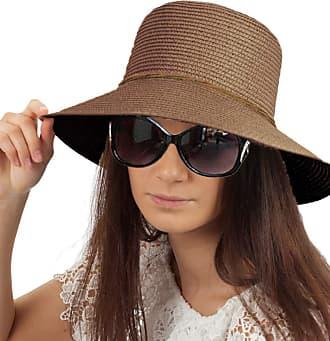 TOSKATOK Ladies Womens Crushable Straw Sun HAT - Coffee