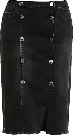 914a49c654fdf Ulla Popken Womens Plus Size Wrap Style Fringe Hem Denim Skirt Black 30  720691 10-