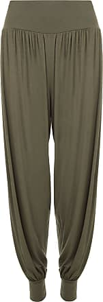WearAll Plus Size Womens Plain Full Long Elastic Ladies Harem Trousers Pants - Khaki Green - 24-26