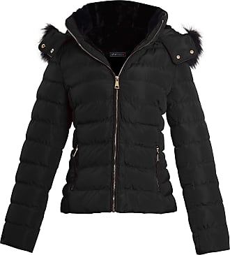 Shelikes Womens Ladies Faux Fur Hooded Zip Up Winter Jacket Coat Size[Black, 2X-Large (UK 16)]
