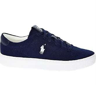 Ralph Lauren Polo Court 125-SK-ATH Blue Logo Canvas Trainers UK 4.5 EU 37