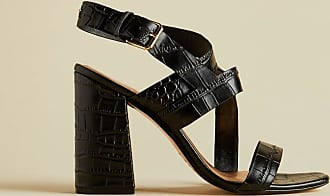 Ted Baker Leather Croc Effect Block Heel Sandals in Black KASERAA, Womens Accessories