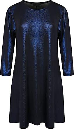 Islander Fashions Womens Long Sleeve Christmas Lurex Swing Dress Ladies Plus Size Party Wear Dress Navy Blue UK 22-24