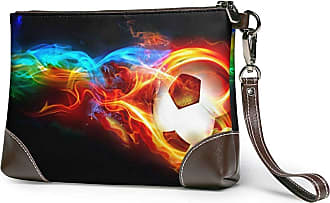 GLGFashion Womens Leather Wristlet Clutch Wallet Colorful Soccer With Fire Storage Purse With Strap Zipper Pouch