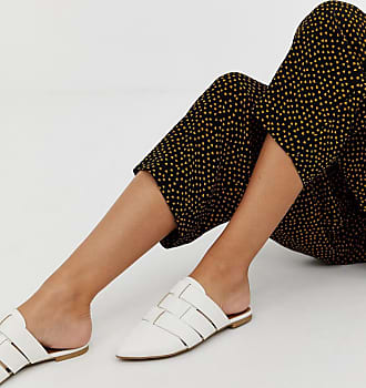 Qupid Qupid pointed weave mules - White