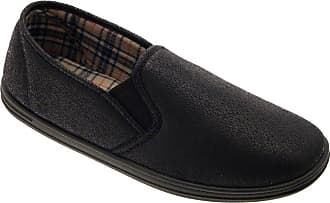 Lora Dora Mens Gents Boys Slippers Slip ON Mules Side Gusset Faux Leather Shoes Black Size UK 8