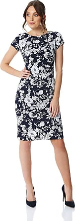 Roman Originals Womens Floral Textured Print Dress - Ladies Everyday Smart Casual Work Office Meeting Wedding Guest Comfortable Round Neck Knee Length Midi Jersey Dre