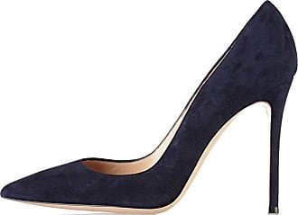 EDEFS Womens Court Shoes Stiletto High Heels Slip On Pumps Pointed Toe Shoes Navy Size EU40