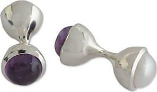 Novica Cultured pearl and amethyst cufflinks, Purple Glow