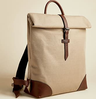 Ted Baker Jute And Recycled Polyester Canvas Backpack in Natural FEATT, Mens Accessories