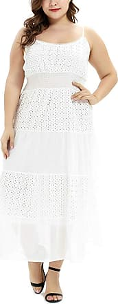 FeelinGirl Womens Lace Maxi Dress Plus Size Cocktail Waisted Evening Gown Sexy Cotton Skirt White 3XL