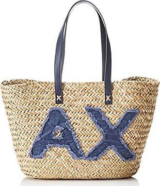 022c276cc0 Armani Natural Straw Bag - Borsa da spiaggia Donna, Blu (Navy), 28x15x55