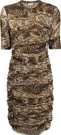 Ganni Vestido com estampa de cobra - Marrom