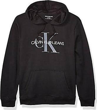 Calvin Klein Mens Fleece Hoodie Logo Pop Over Sweatshirt, Black, X-Large