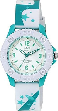 Q&Q Relógio Masculino Infantil Verde Água e Branco Q&Q Original
