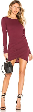 bobi Supreme Jersey Ruched Bodycon Dress in Wine