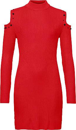 BODYFLIRT boutique Dam Stickad klänning med cut-outs i röd lång ärm - BODYFLIRT  boutique ad3f819f2f373