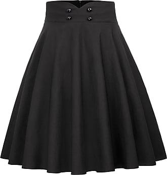 Belle Poque Ladies Vintage 1950s Elegant Flared and Pleated Midi Skirt XL Black(560-1)