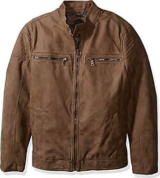 Urban Republic Mens Pu Suede Faux Leather Jacket, Brown, M